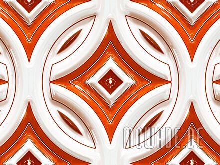 retro tapeten orange weiss rundes muster mit stern