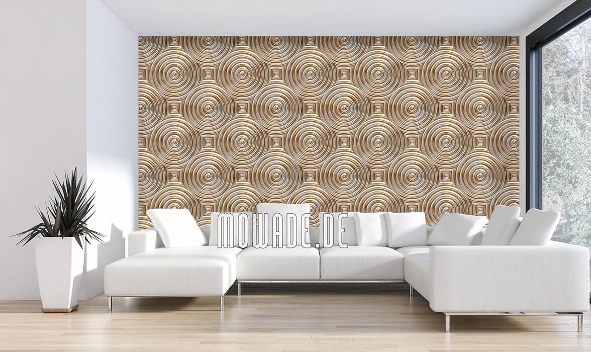 retro wohnzimmer tapete gold kreise metall-optik
