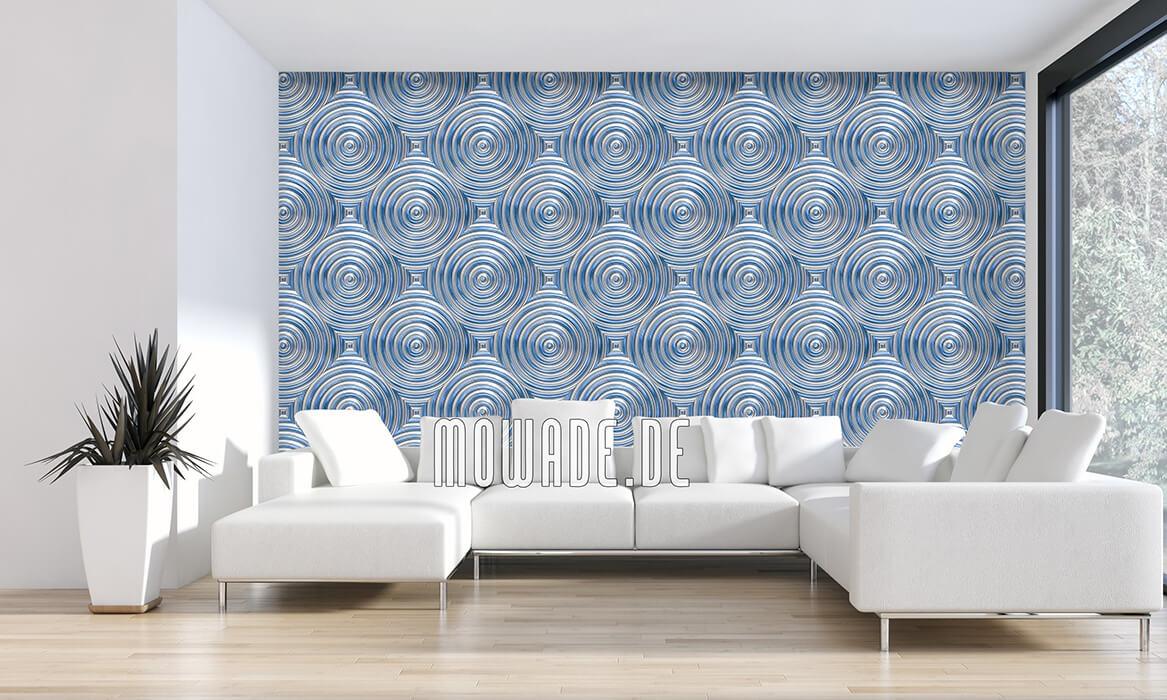 retro wohnzimmer-tapete hellblau kreise metall-optik