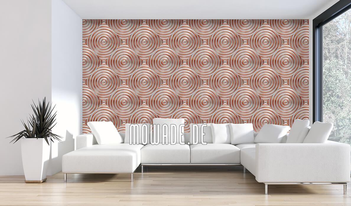retro wohnzimmer-tapete kupfer kreise metall-optik