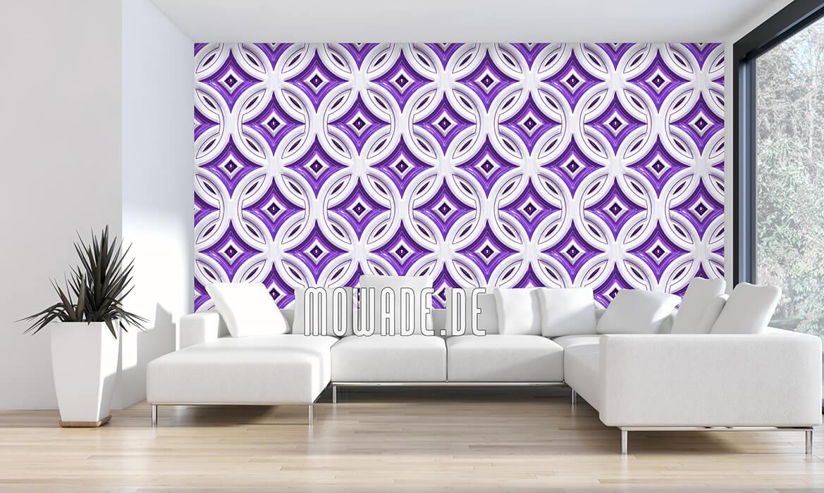 fototapete retro violett weiss kreise mit sternen relief-optik