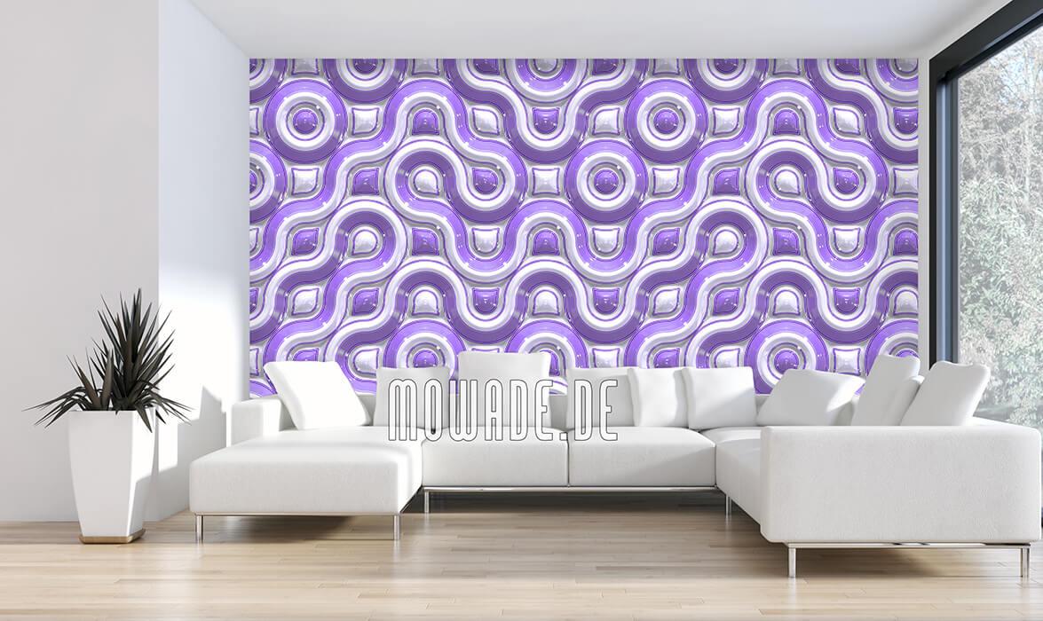 tapete lila retro-design wellen-muster 3d-look