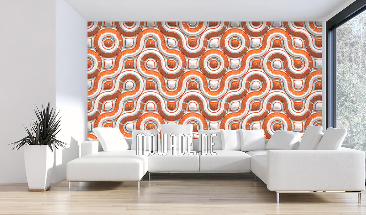 tapete orange retro-design wellen-muster 3d-look