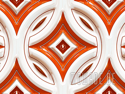 vliestapete orange weiss retro kreise mit stern 3d-optik