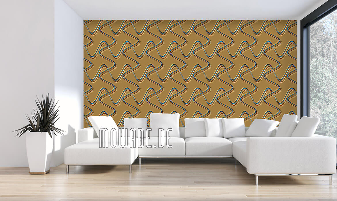 wanddesign blau gold edle retro design-tapete linien