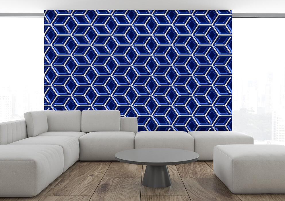 wanddesign modern ultramarin geometrisches muster wuerfel tapeten
