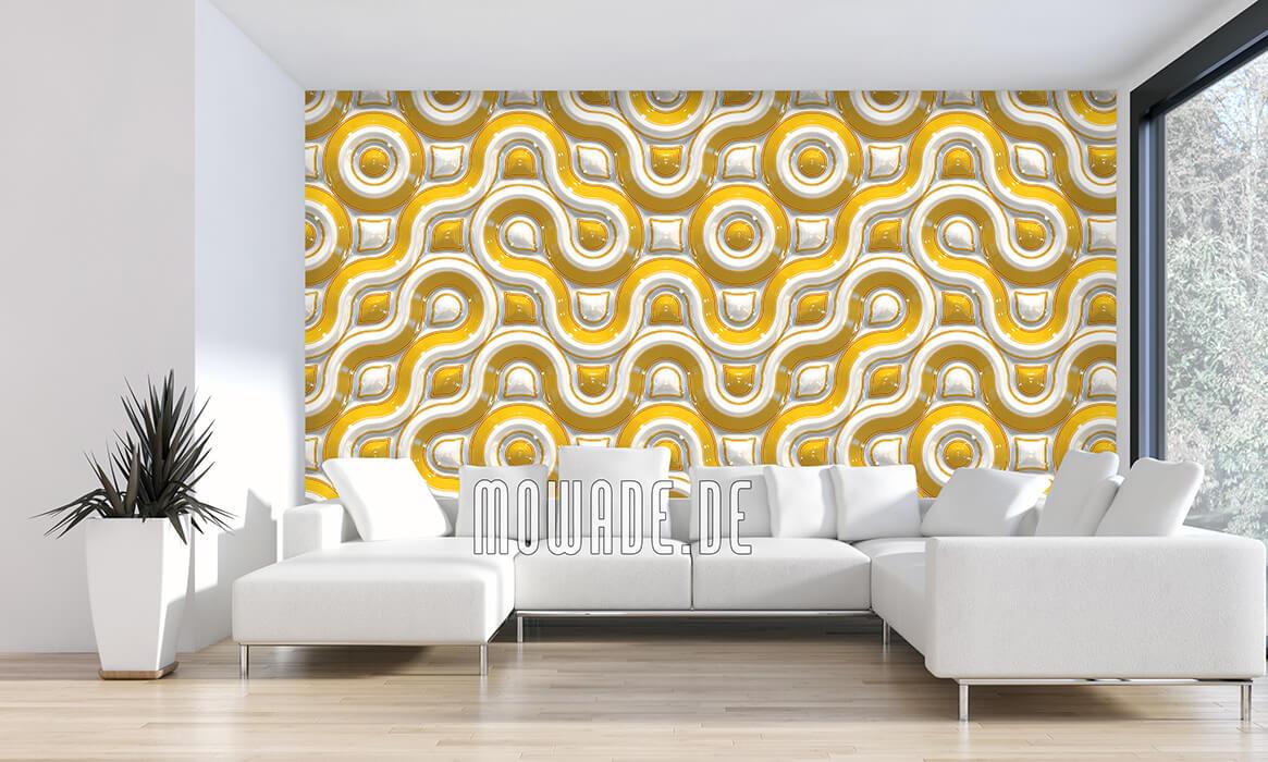 wandgestaltung tapeten design retro gelb wellen-kurven-motiv