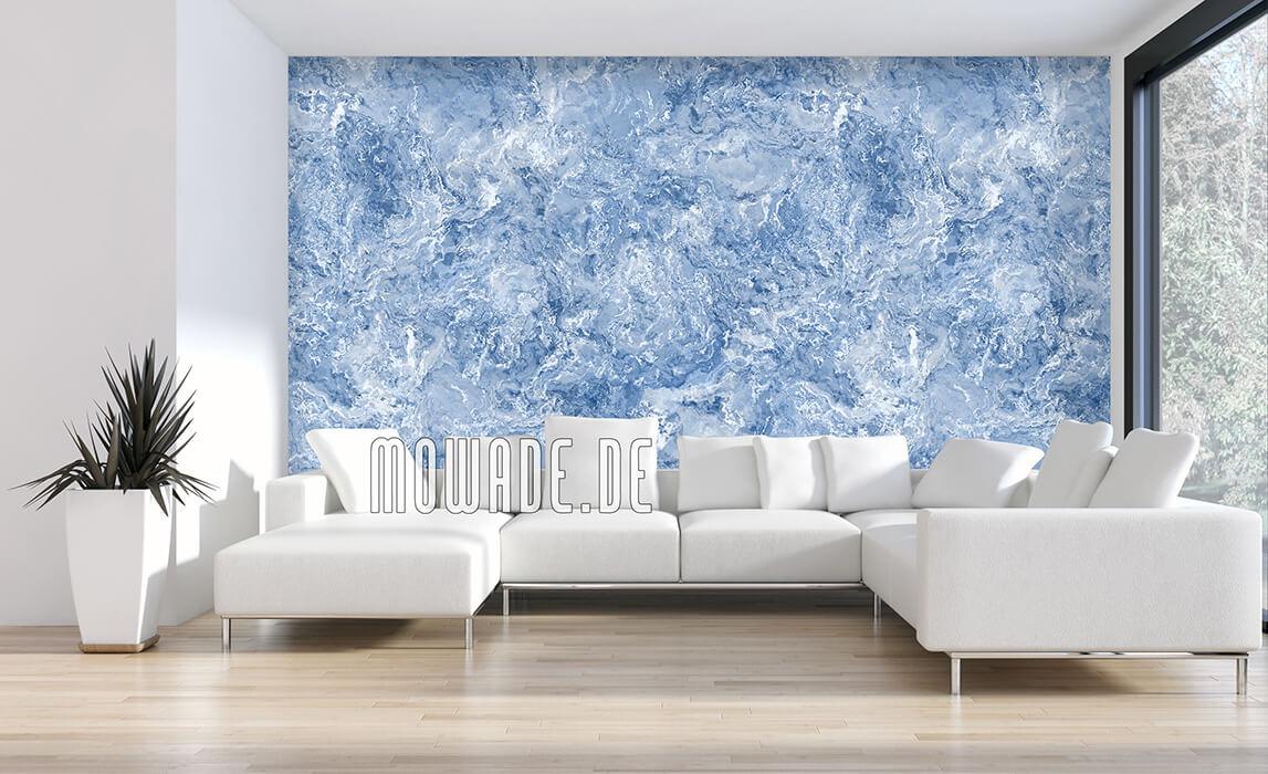edles tapeten design blau weiss feine erd-stein-struktur wohnzimmer lounge galatea