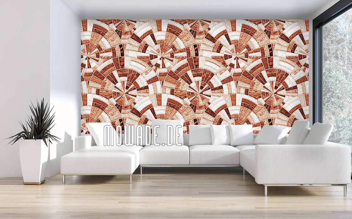 design-tapete kupfer-orange palazzo rund-mosaik glanz-optik