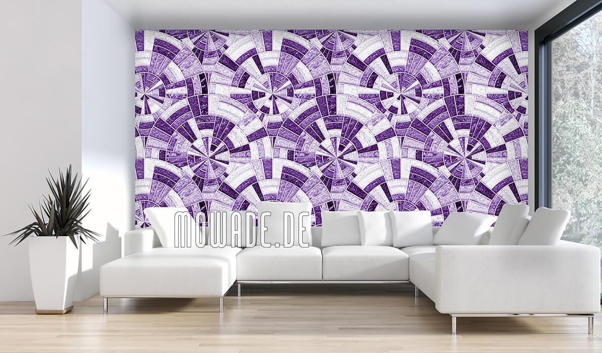 designtapete violett rund-mosaik violett glanz-optik