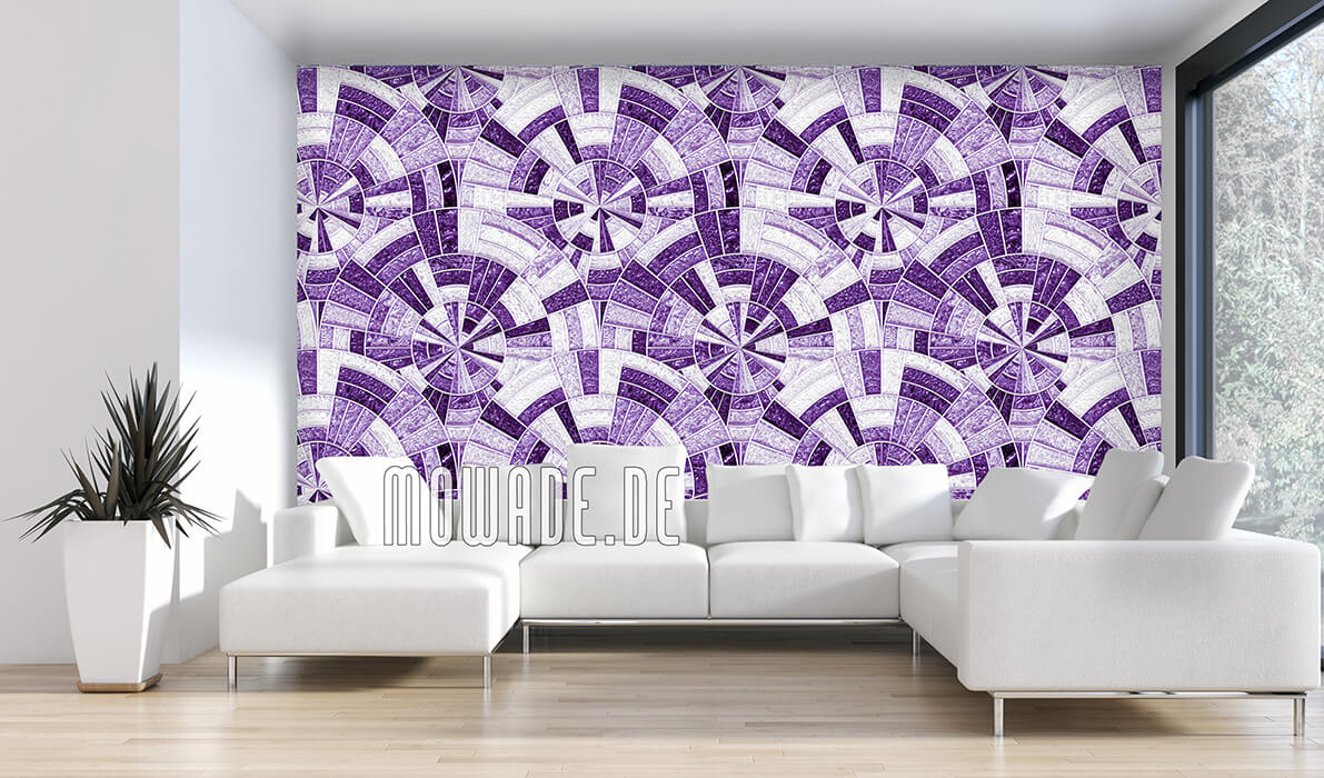 palazzo tapeten-kollektion vlies rund-mosaik violett