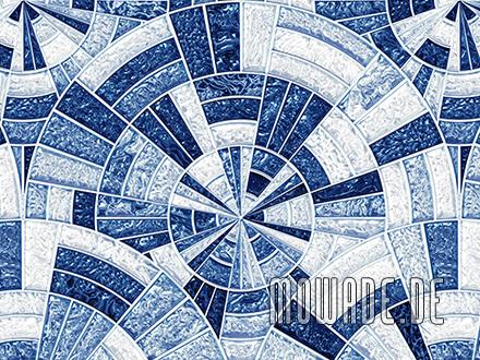 tapeten kreise mosaik blau glanz-optik