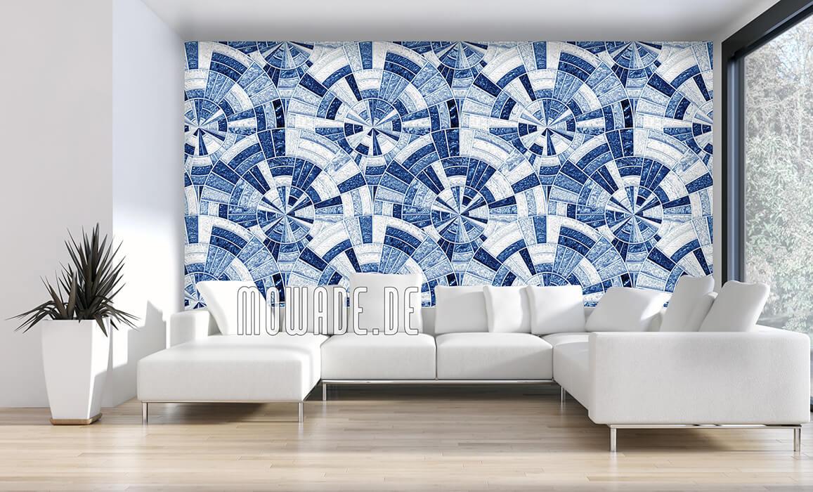 tapetendesign palazzo vliestapete mosaik blau glanz-optik