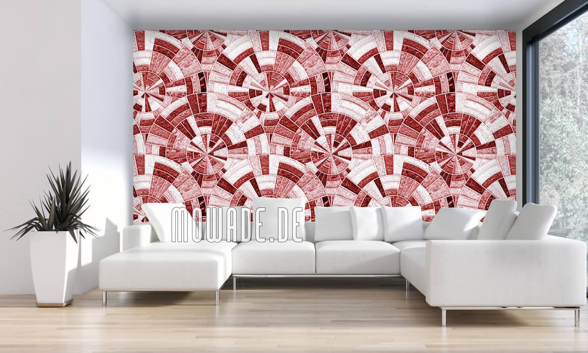 wandgestaltung tapete rot mosaik rund glanz-optik