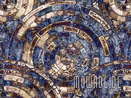 designtapete blau braun mosaik antik-kreise