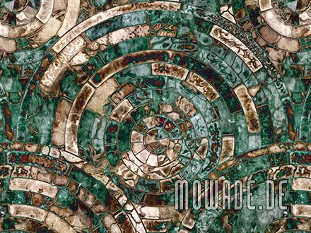 designtapete gruen braun mosaik antik-kreise