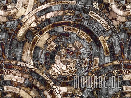 designtapete schwarz braun mosaik antik-kreise