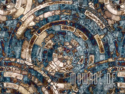 designtapete tuerkis braun mosaik antik-kreise