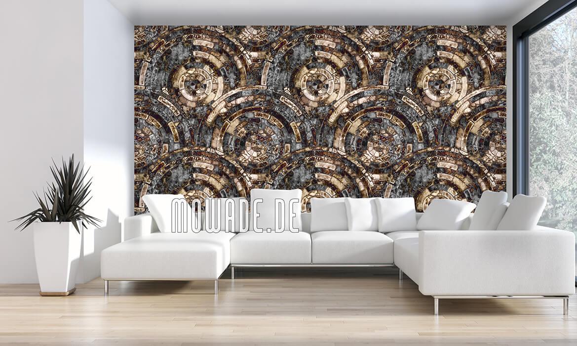 tapeten-kollektion palazzo antikes kreis-mosaik schwarz braun
