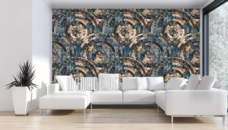tapeten-kollektion palazzo antikes kreis-mosaik tuerkis-braun