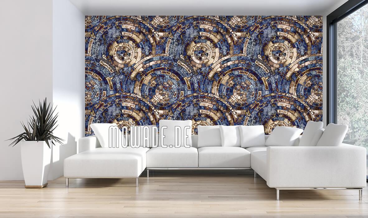 vliestapete blau braun antikes mosaik