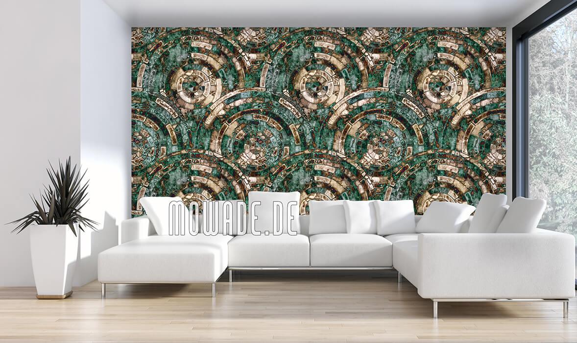 vliestapete gruen braun antikes mosaik