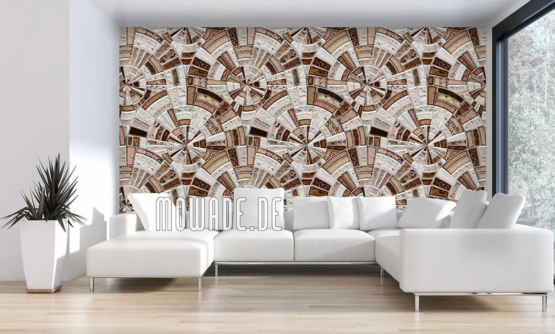 bild-tapeten braun grau kreise mosaik vintage