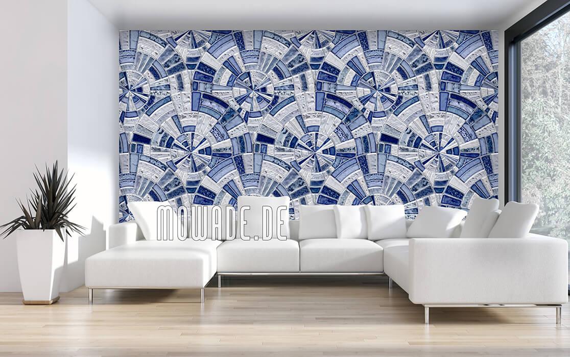 tapeten blau grau mosaik kreise