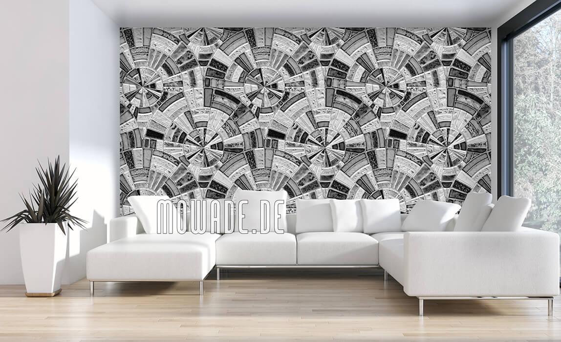 tapeten grau mosaik kreise