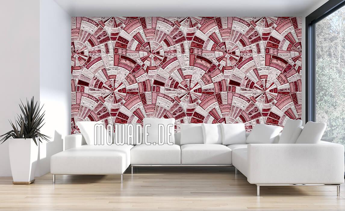 tapeten rot grau mosaik kreise
