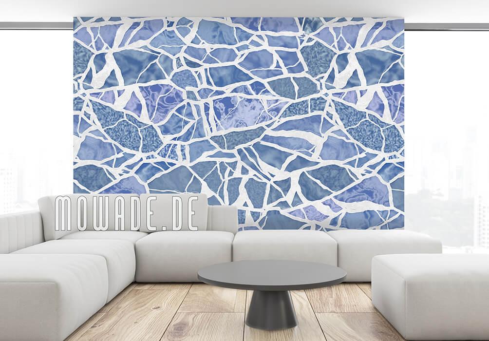 vliestapete mosaik graublau weiss hotel lounge