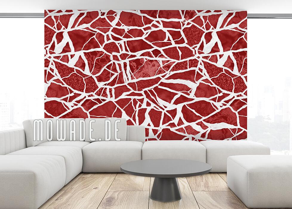 vliestapete mosaik rot weiss hotel lounge