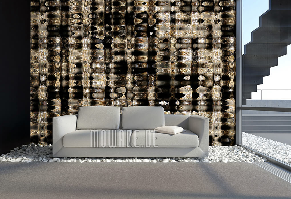 moderne tapete schwarz gold ausgefallenes design wohnzimmer