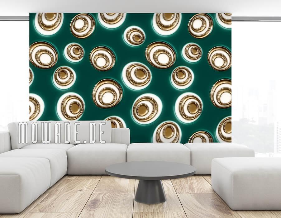 retro tapeten gruen gold wohnzimmer edle ovale