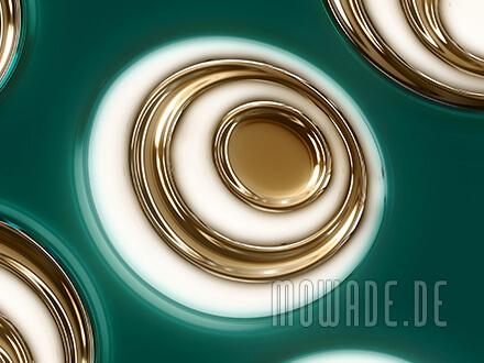 retro wohnzimmer tapete vlies gruen gold ovale