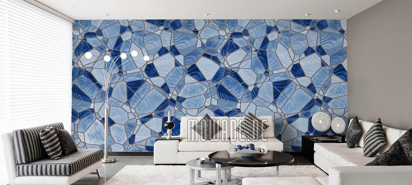 tapete blau mosaik wohnzimmer vlies