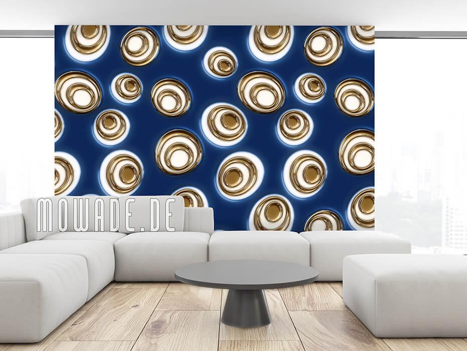 wandtapete blau gold retro moderne ovale