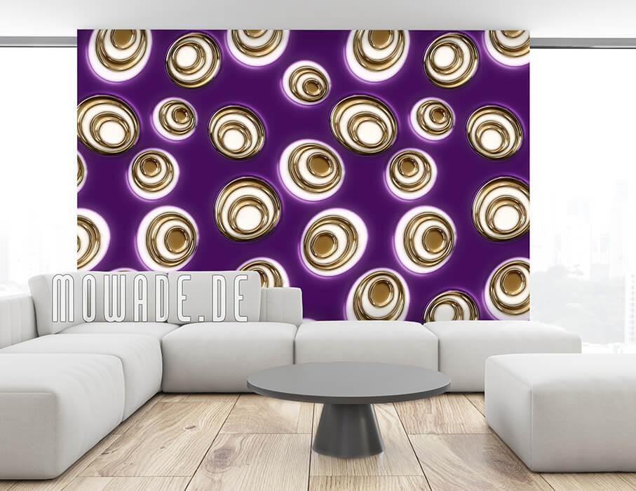wandtapete lila gold retro moderne ovale