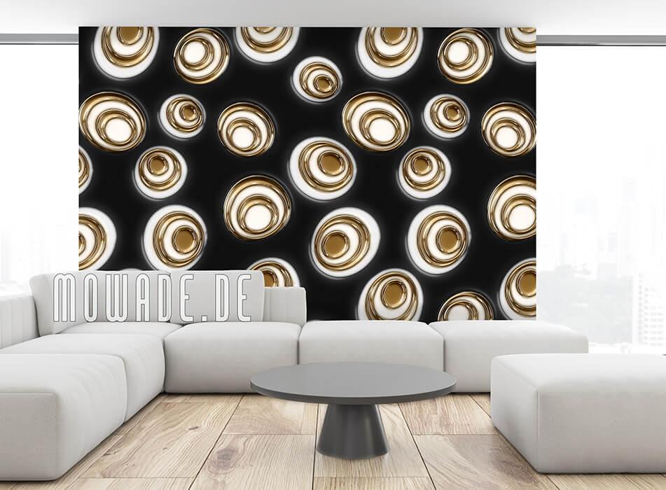 wandtapete schwarz gold retro moderne ovale