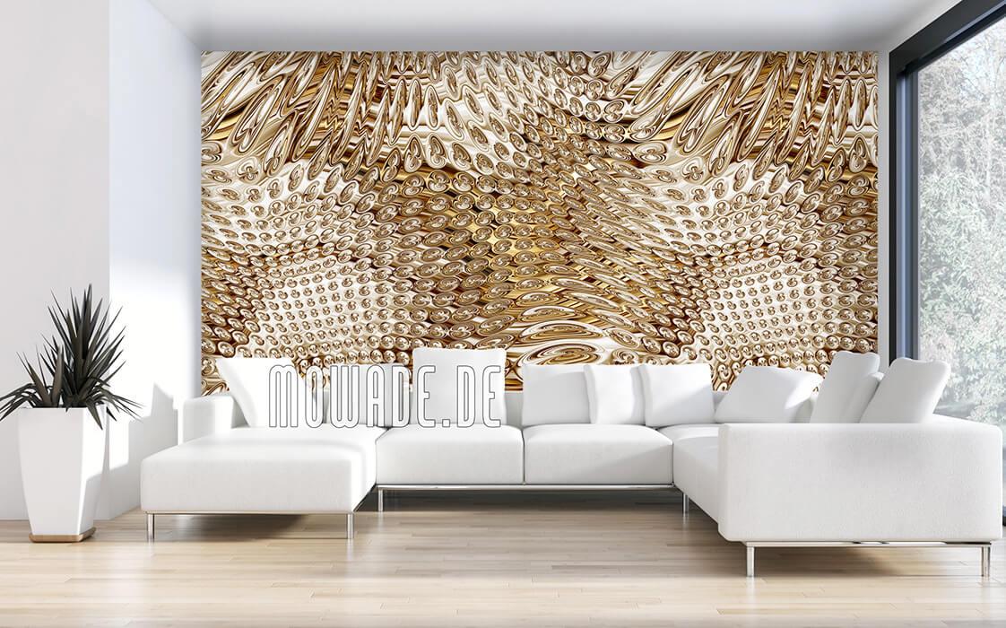 wohnzimmer tapeten gold elegantes muster