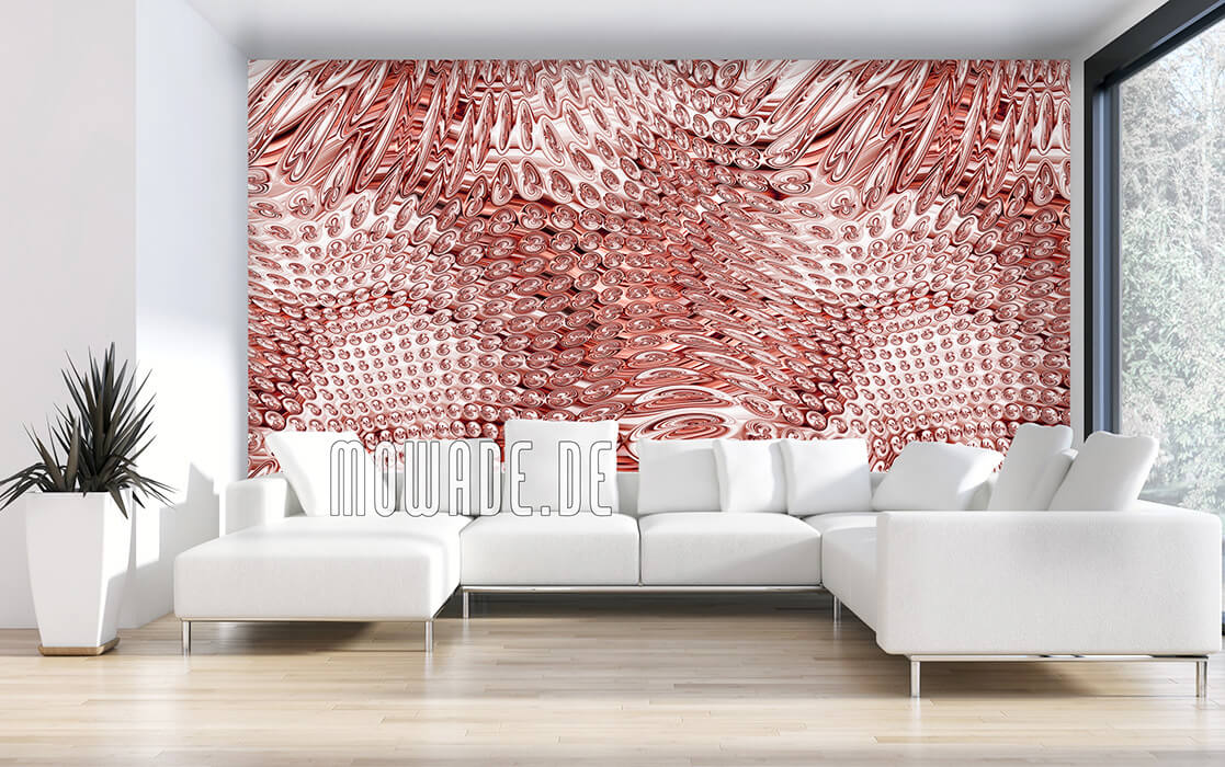 wohnzimmer tapeten kupfer elegantes muster