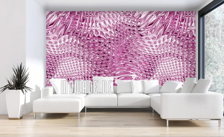 wohnzimmer tapeten rosa elegantes muster