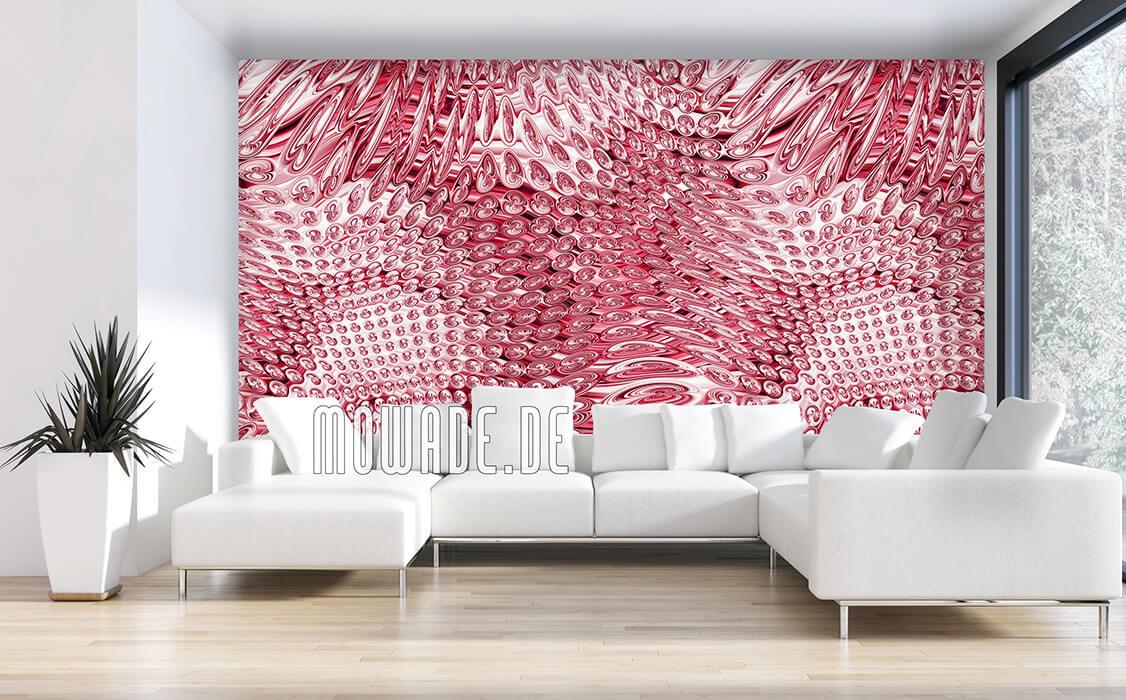 wohnzimmer tapeten rot elegantes muster