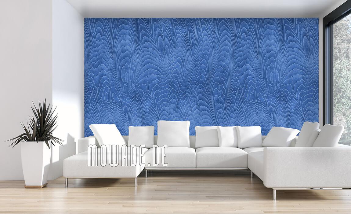 blaue tapete elegantes damast-muster vlies