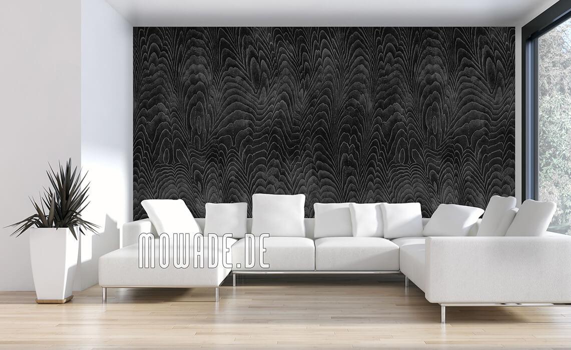 extravagantes tapeten design schwarz damast-wellen vlies