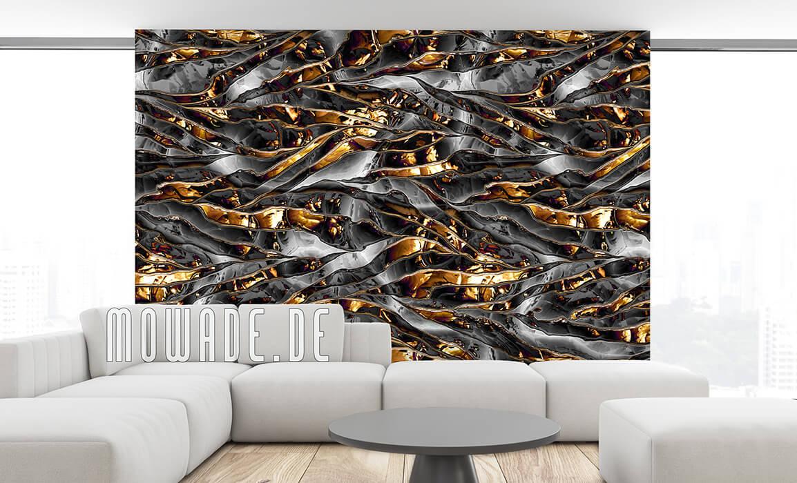 tapeten metalloptik streifen knitter schwarz gold vlies
