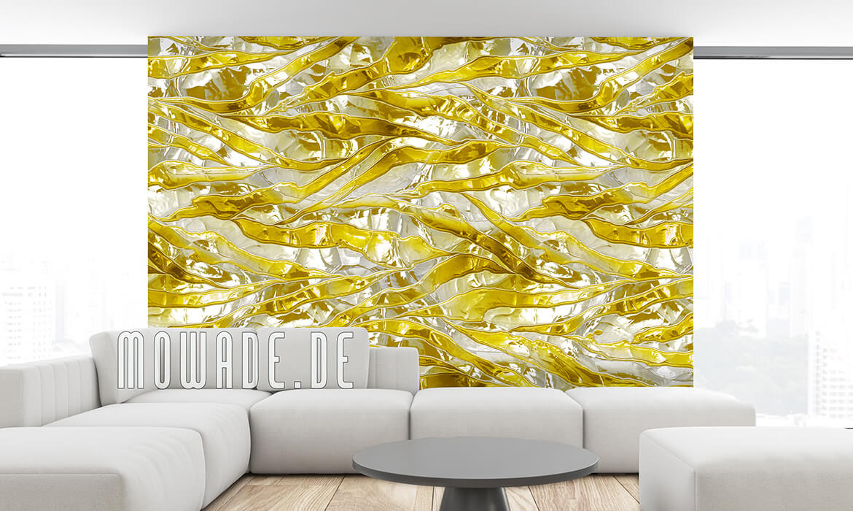tapeten metalloptik streifen knitter weiss gelb vlies