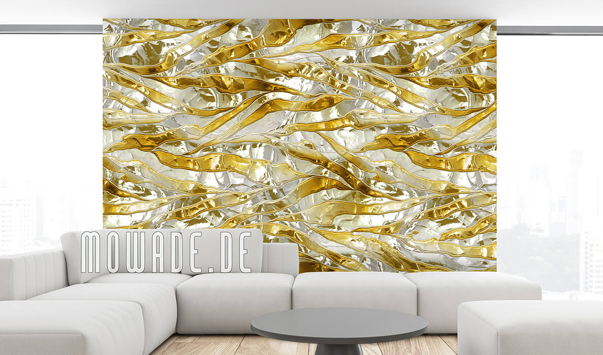 vliestapete weiss gold metalloptik quer-streifen crush-optik
