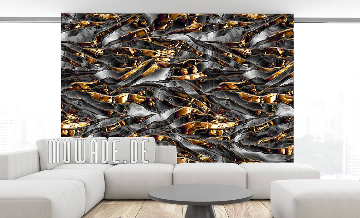 vliestapeten schwarz gold wohnzimmer metalloptik crush-streifen