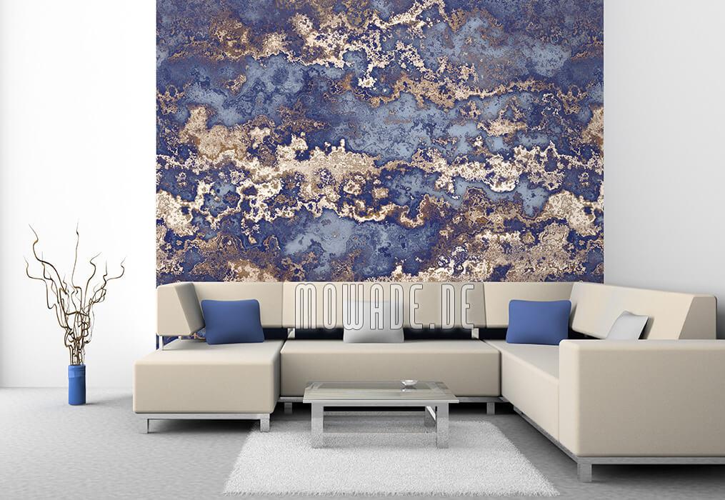 bild-tapete blau braun erd-stein-struktur antik-optik wohnzimmer